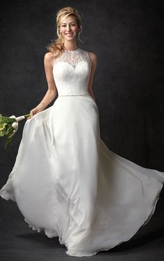 Ella Rosa Gallery GA2293 | classic plain chiffon skirt | with high lace and illusion bodice | romantic destiny wedding #weddinggown #weddingdress