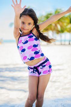 Girl's UV Tankini Shorts Set, Whales- UPF50+ Sun Protection.  avana-collection.com