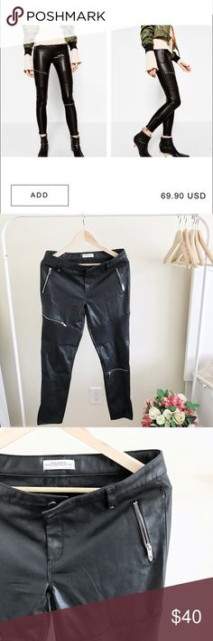 ZARA Faux Leather Biker Trouser Almost like new. Only worn once. Size L, fits 10-12. Stretchy material. Zara Pants Trousers