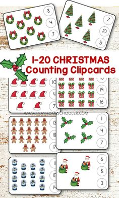 Set 2 of Christmas Montessori inspired math learning printable pack filled with engaging counting and writing activities for preschoolers.   Activities in this set includes: 1. 1-20 Counting Cards   2. 1-20 Clipcards  3. 1-10 Ten Frames - for 1:1 correspondence and number recognition  4. Christmas Sequencing Cards  5. Number Cards  6. FREE Ten Frames