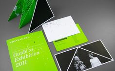 Printed Exhibition Components: Save-the-Date Card, Invitation, Exhibition Catalogue.  Triangles & Greens.