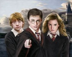 Colored pencil drawing of Harry Potter, Ron Weasley, and Hermione Granger by Heather Rooney Harry Potter Ron, Harry And Hermione, Ginny Weasley, Immer Harry Potter, Harry Potter Sketch, Always Harry Potter, Harry Potter Drawings, Hermione Granger, Harry Potter Characters