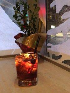 Old Fashioned Holiday: Nutmeg-Infused Rye (recipe), Averna Amaro, Cinnamon Syrup (recipe), Cherry Bitters, Maraschino Cherry.