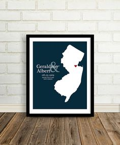 Custom Wedding Location and State Map Print - 8x10, $24