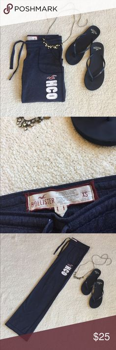 NWOT Hollister | Sweatpants Soft and comfortable blue sweatpants from Hollister! Never worn and in excellent condition. 60% cotton and 40% polyester. Size x-small.  Last picture used for visual/styling purposes. Hollister Pants