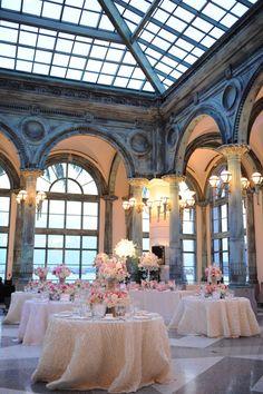 Pink green and white Henry Morrison Flagler Museum wedding | Photo: Unique Design Studios