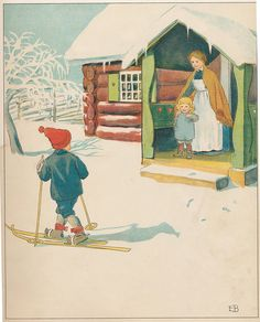 Elsa Beskow February 1874 – 30 June Swedish author and illustrator of children's books. Elsa Beskow, Winter Illustration, Children's Book Illustration, Swedish Christmas, Christmas Art, Childhood Images, Artists For Kids, Scandinavian Art, Conte