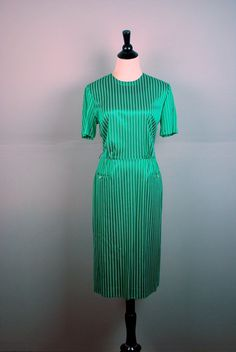 1960's EMERALD green dress /  Vintage by TheDuskyJewelVintage, $28.00