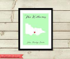 Australian State Map Print / Melbourne Victoria / Love Heart Print / Custom Family Print / Wedding Gift / Engagement Gift / Wall Art on Etsy, $24.00 Australian Gifts, Melbourne Victoria, Family Print, State Map, Heart Print, Engagement Gifts, Love Heart, Wedding Gifts, Wall Art
