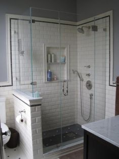 Half wall in shower. Victorian Shower - traditional - bathroom - san francisco - Andre Rothblatt Architecture