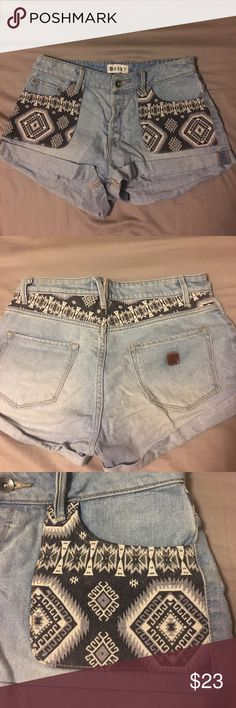 Embroidered high waisted denim shorts So cute!! Embroidered high waisted denim shorts Roxy Shorts Jean Shorts
