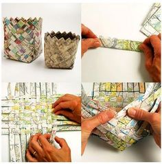 Baskets from newspaper or magazine pages