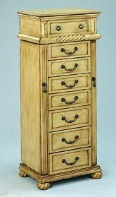 Traditional Antique Cream Light Finish Jewelry Armoire