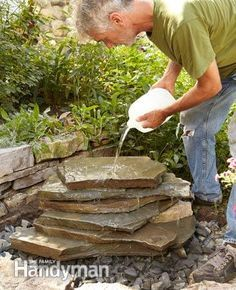 Waterfall Photo Build the backyard waterfall. Use of dams with duct seal putty to direct water flow.Photo Build the backyard waterfall. Use of dams with duct seal putty to direct water flow. Diy Water Feature, Backyard Water Feature, Ponds Backyard, Garden Ponds, Backyard Waterfalls, Koi Ponds, Water Falls Backyard, Ponds With Waterfalls, Tire Garden