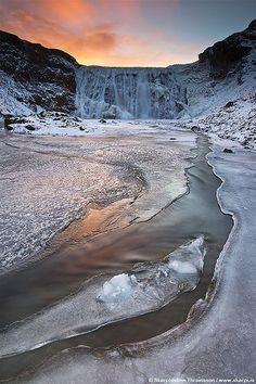Frozen waterfall in Iceland by  skarpi - http://www.skarpi.is, via Flickr
