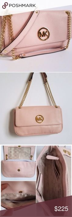 """Michael Kors Chain Strap Pebbled Leather Bag Authentic Michael Kors Pebbled Leather in Blossom color (Blush Pink) with gold tone chain straps. Flap with magnetic closure. Back pocket with magnetic closure. Zippered pocket inside. Multiple card slots. No dustbag. Approximate measurements: 10""""x6.5""""x2"""", 8"""" shoulder drop. Minor surface scratches on hardware from store try-ons. No rips/tears/stains. No Trades! All Reasonable Offers Accepted! MICHAEL Michael Kors Bags Shoulder Bags"""