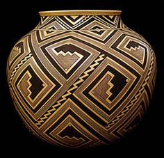 """Bertha Tom, a Navajo of the """"Tachini"""" (mellow people) Clan  ~   Every pot is hand coiled in traditional fashion; every one is fired in temperatures up to 2,000 degrees; and every one is completely painted, intricately, by hand."""