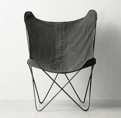 Tye Stonewashed Canvas Butterfly Chair in Graphite (here) or fog (med. grey). $199 RHTeen