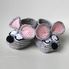 Sleepy Mouse Baby Booties Crochet Pattern