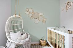 Mint and white nursery design