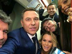 Judges from Britain's Got Talent group selfie. Britain's Got Talent Judges, America's Got Talent, Ant & Dec, Amanda Holden, Britain Got Talent, Simon Cowell, Celebs, Celebrities, Damon