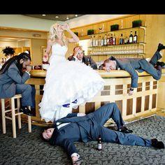 The bride vs the boys.