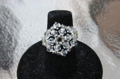 Clear As Ice Cocktail Ring Swarovski Crystal by HandmadeJILLry