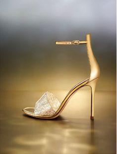 Gianvito Rossi, Metallic Glitter Open Toe Sandal