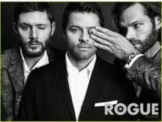Jared Padalecki, Jensen Ackles and Misha Collins are all blatantly hiding one eye in the ROGUE magazine. Castiel, Supernatural Jensen, Supernatural Seasons, Jensen Ackles, Jensen And Misha, Jared Padalecki, Misha Collins, Saga, Rogue Magazine