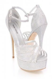 Silver Rhinestone High Heels Tinsel Shimmer Fabric