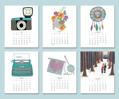 2015 Illustrated Mini Calendar by sarahfrancesart on Etsy