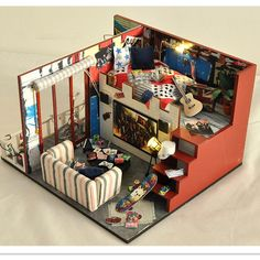 "Miniature Wood Doll House Furniture DIY Dollhouse Kit Assembling Toys for Child/Friend's Gift,""Final Fantasy"" Doll's House"