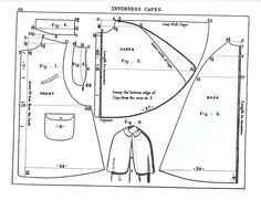 Inverness cape coat pattern with instructions. Costume Patterns, Coat Patterns, Clothing Patterns, Sewing Patterns, Cape Pattern, Jacket Pattern, Vintage Patterns, Vintage Sewing, Capes