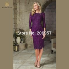 Elegant Purple/Teal Mother of the Bride Lace Dresses Knee Length with 3/4 Sleeves Beaded Brides Mother Dresses Plus Size 2015