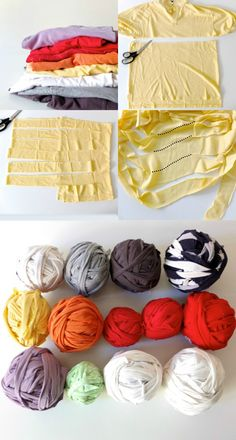 cut up old shirts to make rug yarn