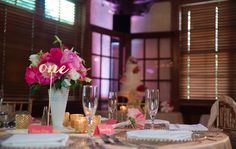 Leah Langley Photography, Dubsdread Historic Ballroom, Lee James Floral Designs, Orlando wedding florist, pink and white floral centerpiece