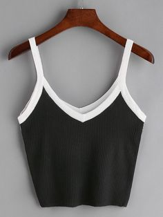 Shop Black Contrast Trim Ribbed Cami Top at ROMWE, discover more fashion styles online. Teen Fashion Outfits, Cute Fashion, Girl Fashion, Girl Outfits, Fashion Looks, Crop Top Outfits, Cute Casual Outfits, Mode Instagram, Moda Casual