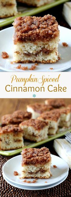 Pumpkin Spiced Cinnamon Cake is light and fluffy. Layered with a wonderful cinnamon sugar streusel that has been tinged with the sweetness of a pumpkin pie.