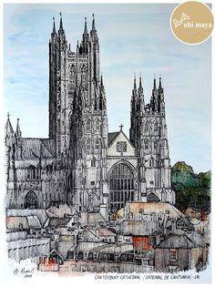 """""""CANTERBURY CATHEDRAL (Catedral de Cantuária) - INGLATERRA"""". Técnica: bico de pena e aquarela s/ papel C à grain 180g/m², tamanho 38X28cm."""
