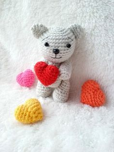 (4) Name: 'Crocheting : Bear with Heart Valentines day gift