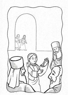 Dibujos Católicos : Niño Jesus hallado en el templo para colorear