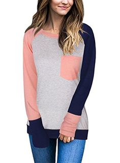 9be081d42d online shopping for Exlura Women's Casual Long Sleeve Crewneck Color Block  Pocket T-Shirt Tunic Tops from top store. See new offer for Exlura Women's  Casual ...