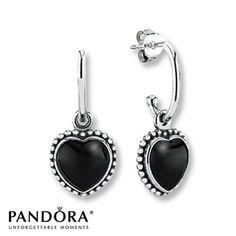 Pandora Earrings Onyx Mi Amor Sterling Silver