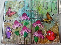 maria's knutselplezier: Crazy birds in art journal en op kaart!