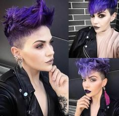 Shave yourself! Down with these neck hairs! Discover here 10 short hairstyle # Punk Hair Discover Hairs hairstyle neck Shave Short Funky Short Hair, Short Hair Cuts, Edgy Short Hair Styles, Pixie Cuts, Funky Hairstyles, Shaved Hair, Cool Hair Color, Purple Hair, Purple Pixie