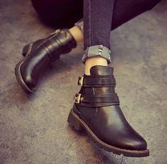 1d71f532dd8 Barato 2014 mulheres de inverno botas de neve new fashion puro lazer Hasp  couro botas flat