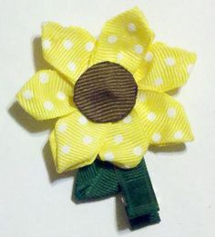 Sunflower Hair Clip by PattyCakeCuties on Etsy, $4.00
