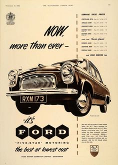 Now more than ever – it's Ford - Vintage and Retro Cars Vintage Advertisements, Vintage Ads, Vintage Posters, Vintage Images, Poster Ads, Car Posters, Ford Motor Company, Ford Classic Cars, Vintage Graphic Design