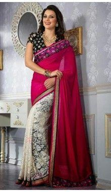 Pink & Cream Designer Chiffon Saree @ Rs.2,190