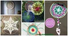 A collection of crochet dream catchers, suncatchers, crochet rounds and mandalas.